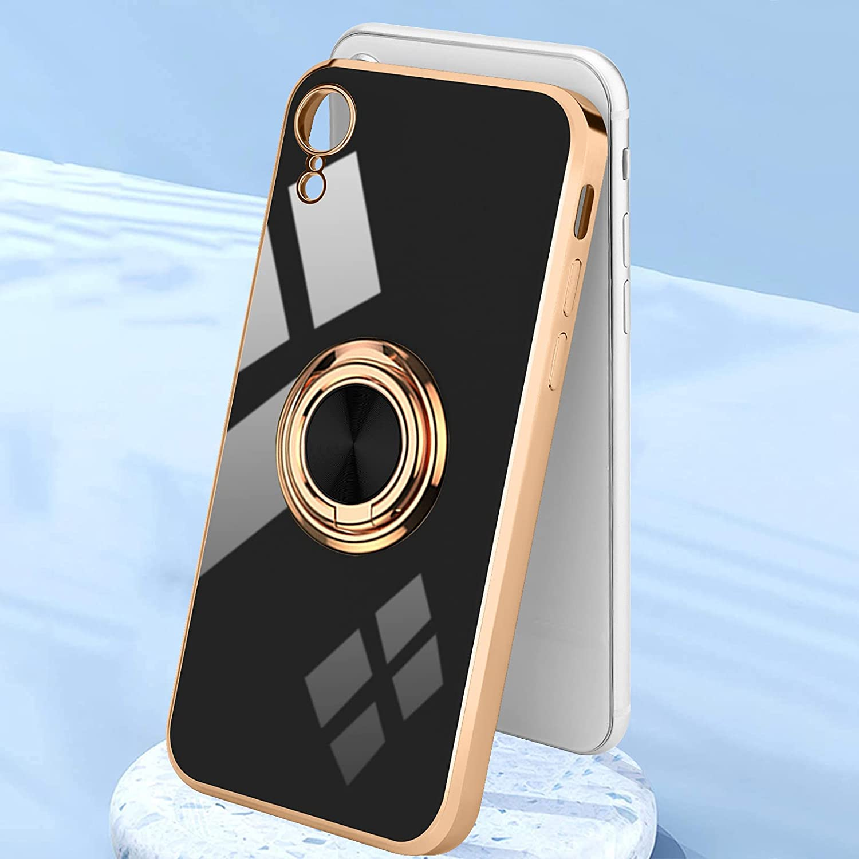 Urarssa Compatible with iPhone Xr Case, Finger Ring Holder Case Rose Gold Plating Design for Women Girls Rotating Holder Kickstand Magnetic Shockproof Soft TPU Bumper Cover Case, Black