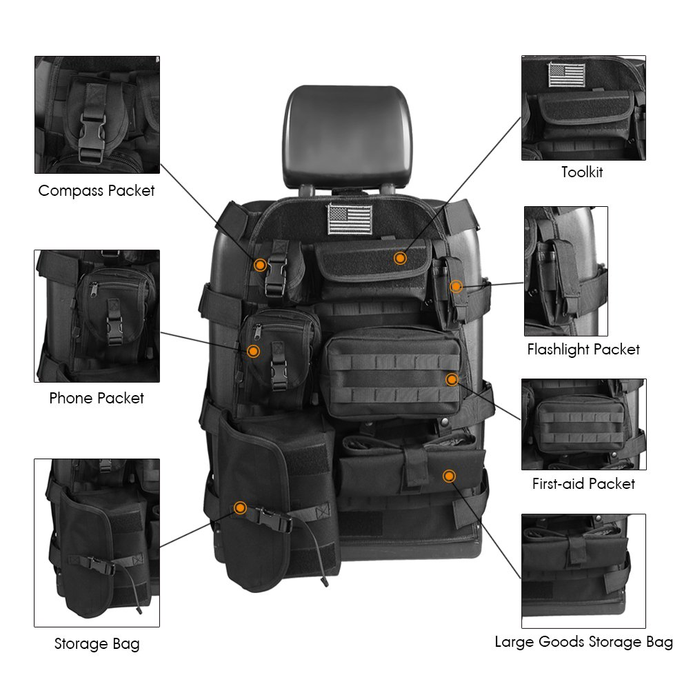Universal Seat Cover Case with Organizer Storage Muti Pocket fit Jeep Wrangler Unlimited CJ YJ Cherokee Rubicon Ford F150 Ridgeline Seat Protector Multiple Pockets SUNPIE