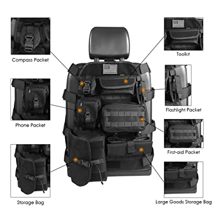 Universal Seat Cover Case With Organizer Storage Muti Pocket Fit Jeep Wrangler Unlimited CJ YJ Cherokee