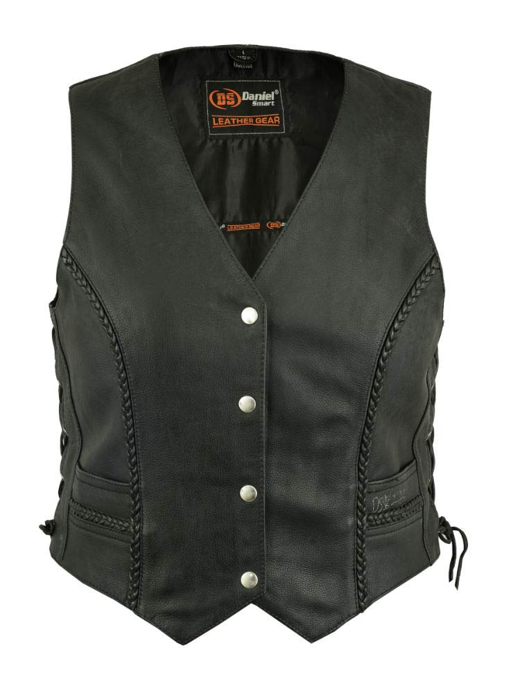 Womens Riding Braided Soft Leather Vest 2XL Side Laces