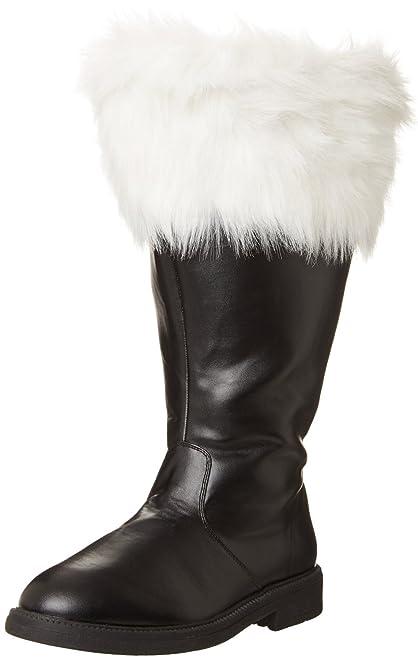 Funtasma SANTA-106WC mens Black Polyurethane-White Faux Fur Boots Size - S