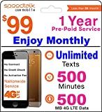 1 Year Prepaid GSM SIM Card - Monthly Unlimited Text 500 Minutes and 500 MB 4G LTE Data No Contract 12 Months Plan