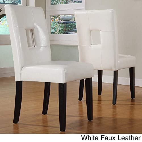 Inspire Q Mendoza Keyhole Back Dining Chairs Set of 2 by Bold White