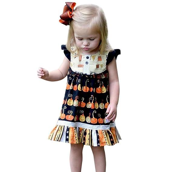 Baiomawzh Ropa Halloween Bebe Niñas Vestido Calabaza impresión ...
