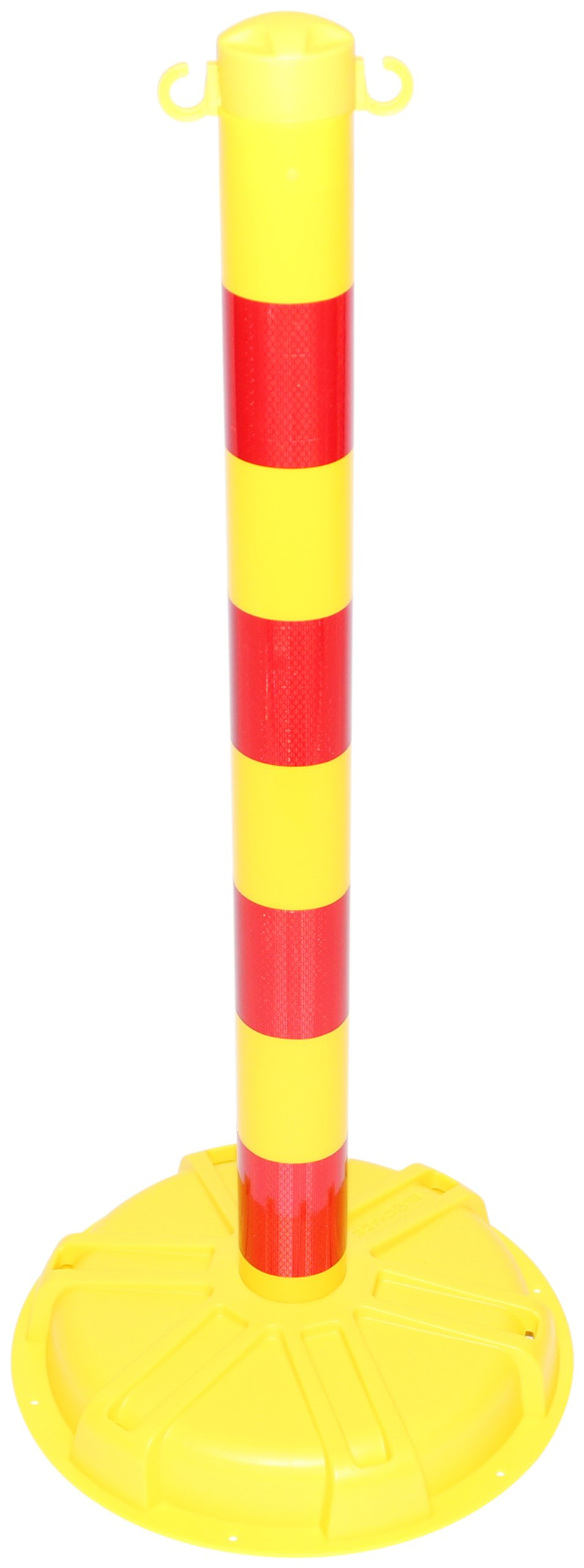 Accuform PRC447YLRR BLOCKADE Stanchion Post, 38'' Height x 3'' Diameter Post x 16'' Width Base, High-Density Polyethylene, Yellow with Reflective Red Stripe