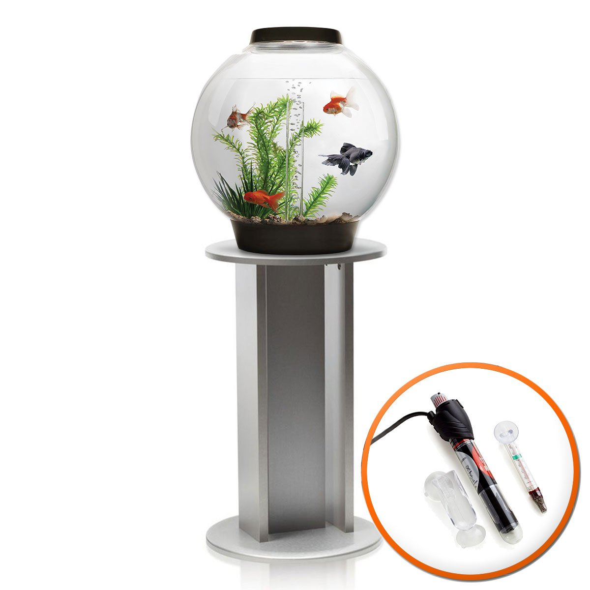 BiOrb Classic 30L Aquarium in Black with MCR LED Lighting, Heater Pack & Silver Stand