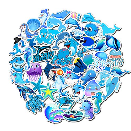 (Sea World Animals Stickers Octopus Turtle Dolphin Shark Crab Laptop Stickers Waterproof Skateboard Snowboard Car Bicycle Luggage Decal 49pcs Pack (Sea World Animals))