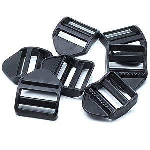 """Vonty 20pcs Plastic 38mm/1.5"""" Webbing Strap Ladder Slider Buckle Lock for Belt Backpack Camping Bag Belt Suitcase, Black"""