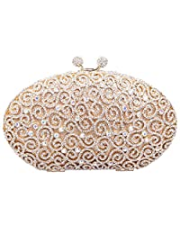 Santimon Women Clutch Egg Rhinestone Kiss Lock Purses Luxury Evening Clutch Bags with Removable Strap Gold