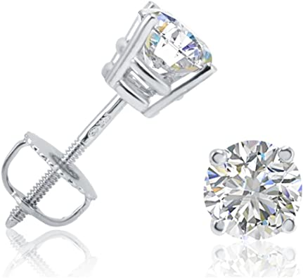14k Yellow Gold Girls 1//14 CT Carat Diamond Round Solitaire Stud Earrings Infant