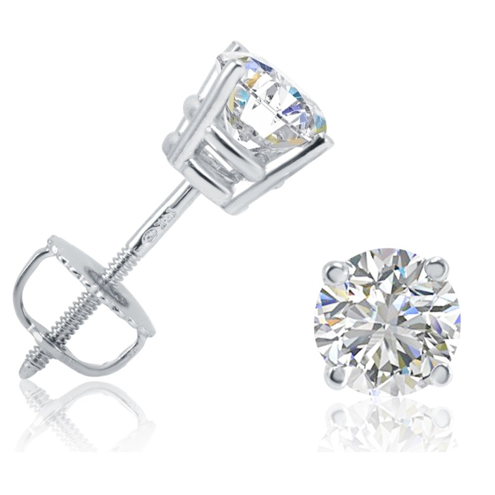Amanda Rose Collection 1ct Total Weight Round Diamond Stud Earrings in 14K White Gold with Screw Backs by Amanda Rose Collection