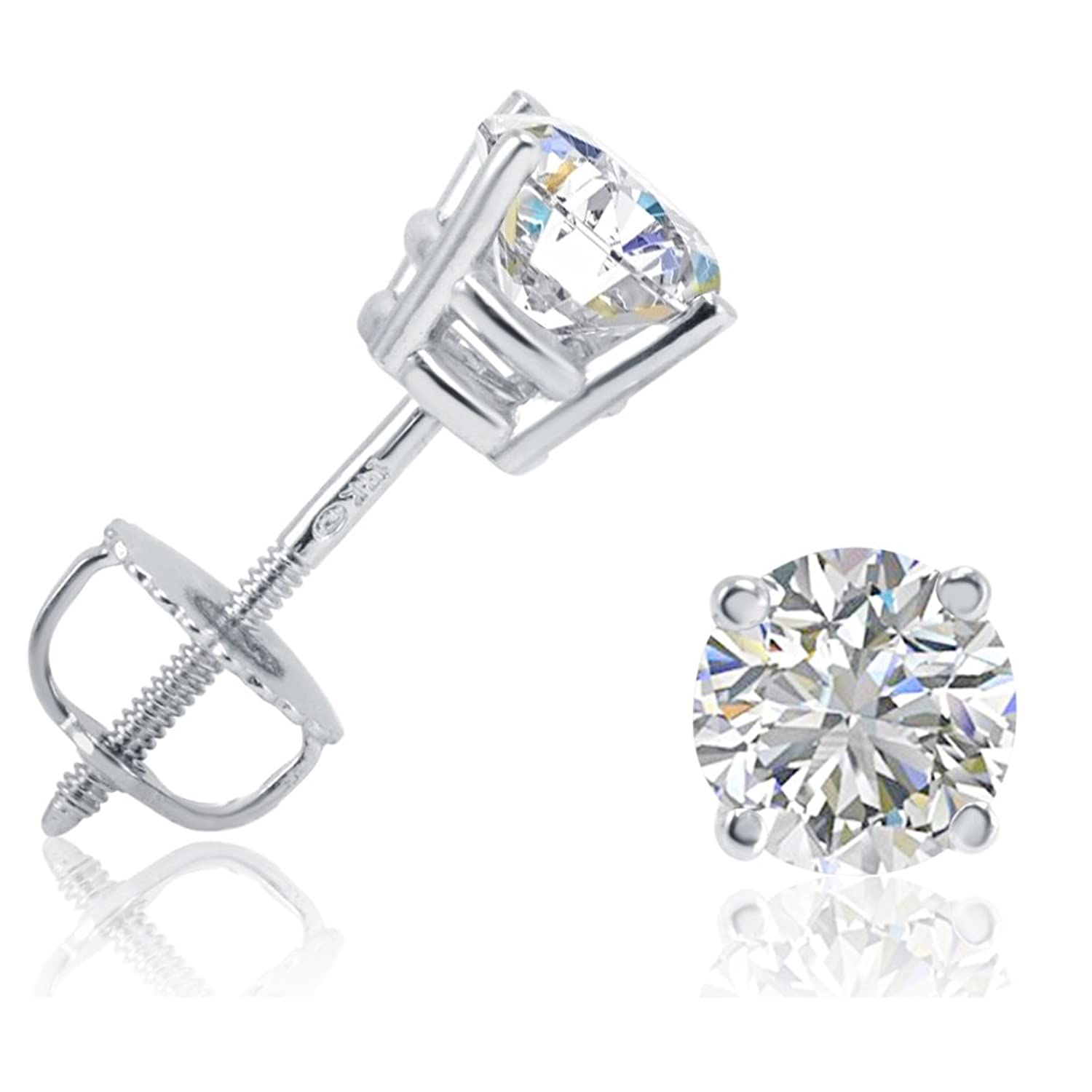 diamond gold shop princess arrivals screw squarecut new white square back cut earrings stud