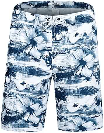ac8b253cbc ELETOP Men's Swim Trunks Quick Dry Board Shorts Beach Holiday Swimwear  Print Bathing Suits with Mesh