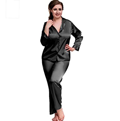 771b0fc90f Ladies Adult Sexy Satin Long Sleeve Pyjamas Set Black Hot Pink White Sizes  8 to 26 Plus Size Nightshirt PJ Lingerie Nightwear Set  Amazon.co.uk   Clothing