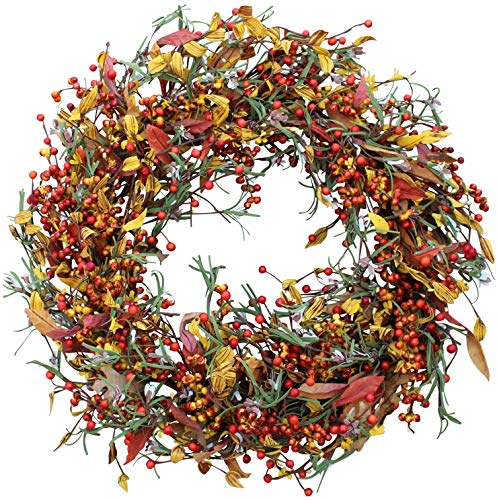 Appalachia Berry Silk Fall Door Wreath 22 inch - Autumn Berries and Foliage Enhance Home Decor, Approved for Covered Outdoor Use, Beautiful White Gift Box (Fall Door Wreaths)