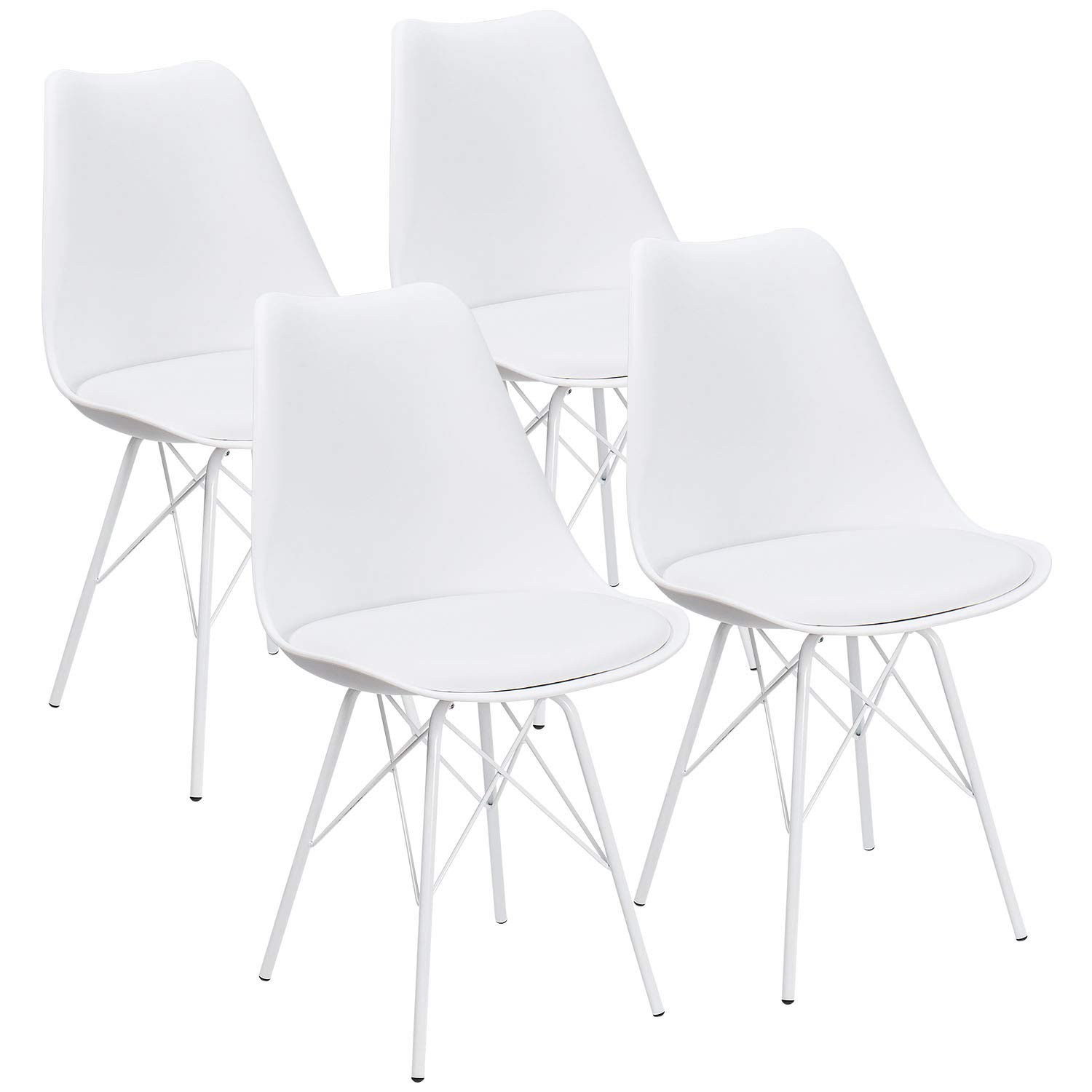 JUMMICO Kitchen Dining Chair with Soft Padded Mid Century Shell Side Chair Armless Tulip Chair Set of 4 (White)
