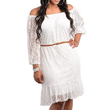 8001 - Plus Size Belted 3/4 Sleeve Laced Summer Wedding Dress Off-White  Ivory