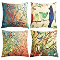 Anickal Set Of 4 Farmhouse Pillow Covers Oil Painting Vivid Birds Stands On Trees Branch Decorative Throw Pillow Covers 18 X 18 Inch For Sofa Couch Decor