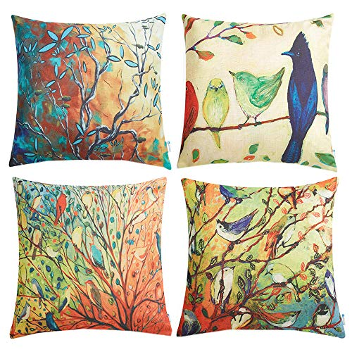 - Anickal Set of 4 Oil Painting Vivid Birds Stands on Trees Branch Decorative Throw Pillow Covers 18 x 18 Inch for Sofa Couch Décor