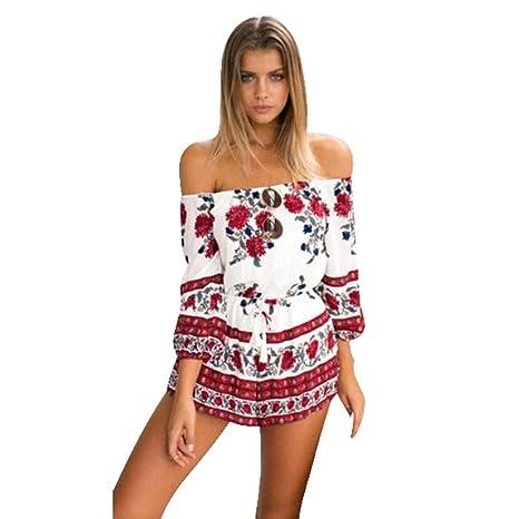 Susenstone Mujeres Sexy hombro mono Pelele pijama de playa de arena (EU:38)