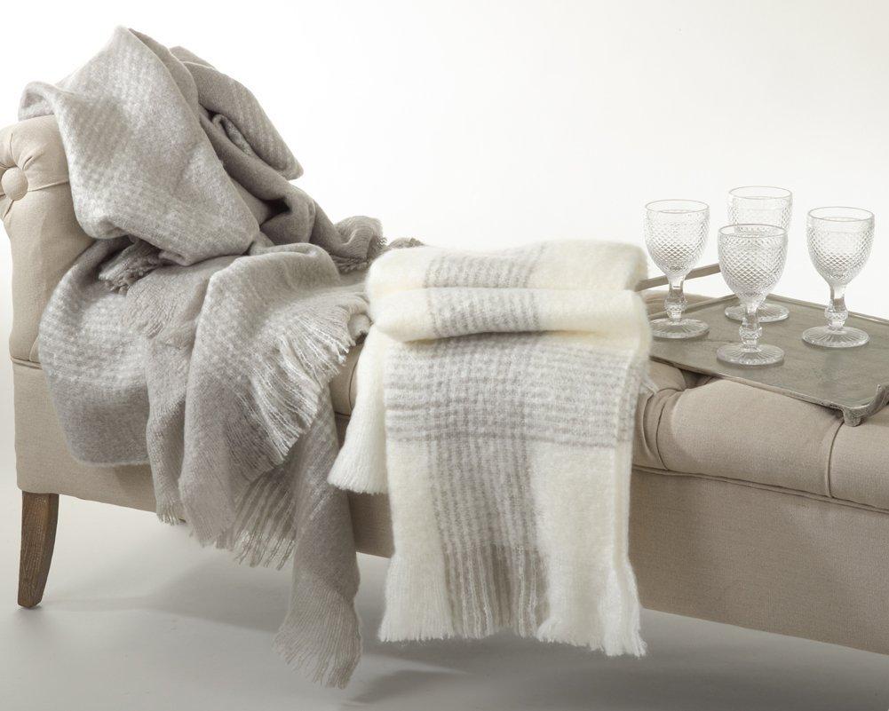 クラシックFauxモヘアストライプThrow Blanket 50Wx60L グレー COMIN16JU016805 B00VU3VAVO グレー