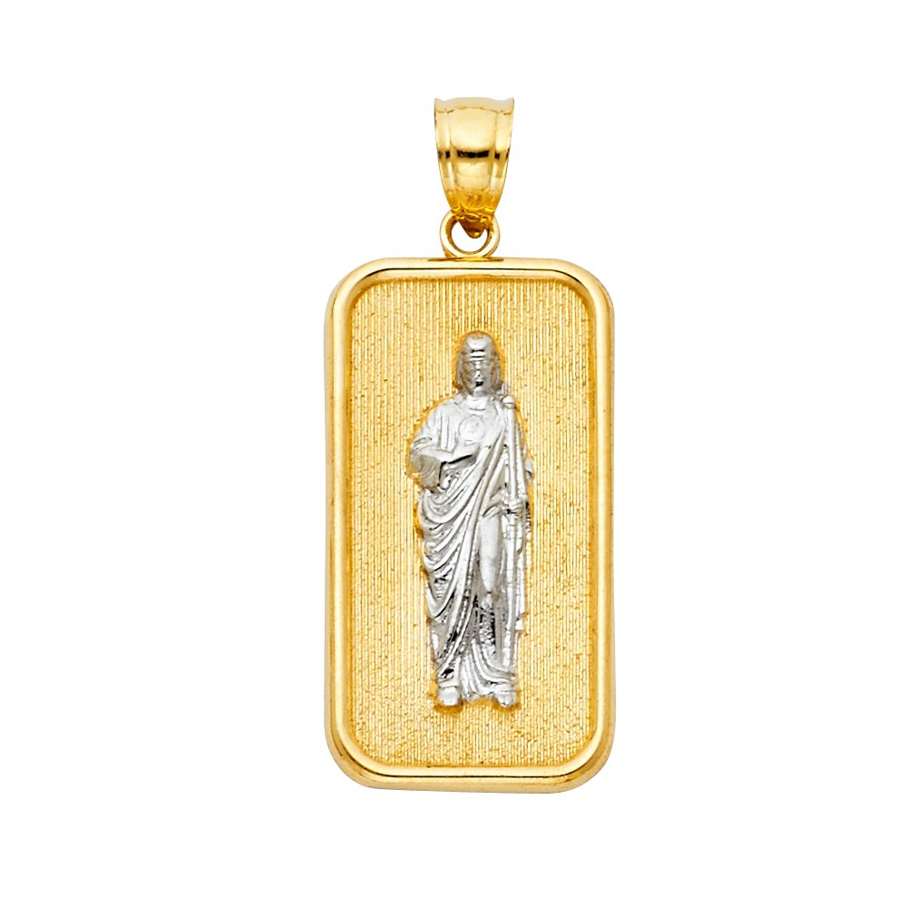 30mm x 13mm Million Charms 14K Two-tone Gold with White CZ Accented Saint Jude Thaddeus Charm Pendant
