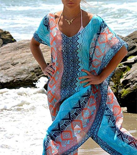 Esenfa Womens Long Chiffon Kaftan Beach Cover Up Beach Dress Wear Swimwear (blue): Amazon.co.uk: Clothing