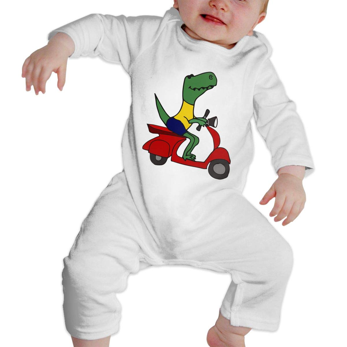Baby Boy Long Sleeved Coveralls T-Rex Dinosaur Riding Motor Scooter Toddler Jumpsuit