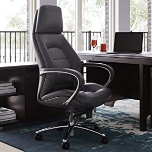 Modern Gates Genuine Leather Aluminum Base High Back Executive Chair - Dark Grey