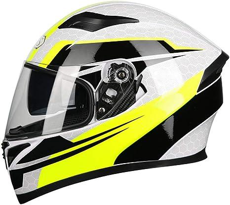 Elektrische Motorradhelme Für Männer Und Frauen Gelb Weißer Nebel Xxl Sport Freizeit