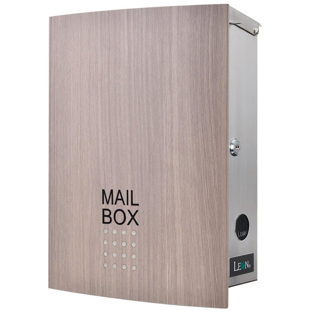 LEON (レオン) MB4504ネオ 郵便ポスト 壁掛けタイプ ステンレス製 鍵付き おしゃれ 大型 ポスト 郵便受け (マグネット付き) 木目調タモウッド B079GSXBC4 24624 木目調タモウッド 木目調タモウッド