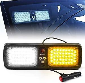 Xprite White Yellow Amber 86 LED SunShield Sun Visor Emergency Strobe Lights 12 Flash Modes Hazard Warning Light for Law Enforcement Vehicle