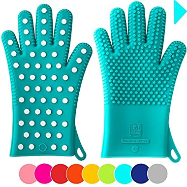 New For Summer 2016: Heavy-Duty Women's Silicone Oven Mitts | Designed in Italy, 2 Sizes Available | Great Gift for Mom | Heat Resistant Gloves For Her Cooking & Barbecue Needs (1 Pair M/L, Teal)