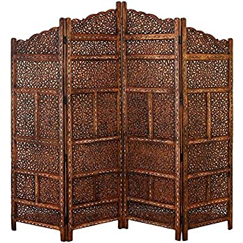 Deco 79 Villa Este Wood Room Divider 4 Panel Carved Screen