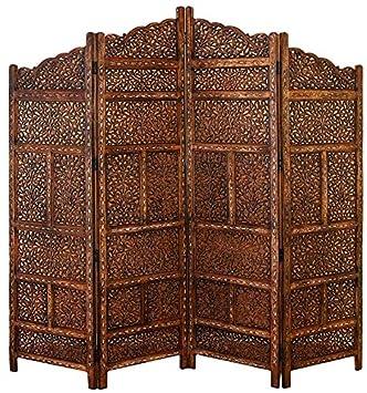 Deco 79 Villa Este Wood Room Divider 4 Panel Carved Screen