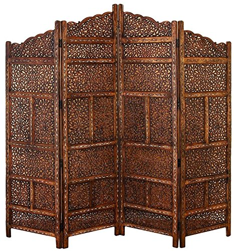 Deco 79 Villa Este Wood Room Divider 4 Panel Carved Screen by Deco 79