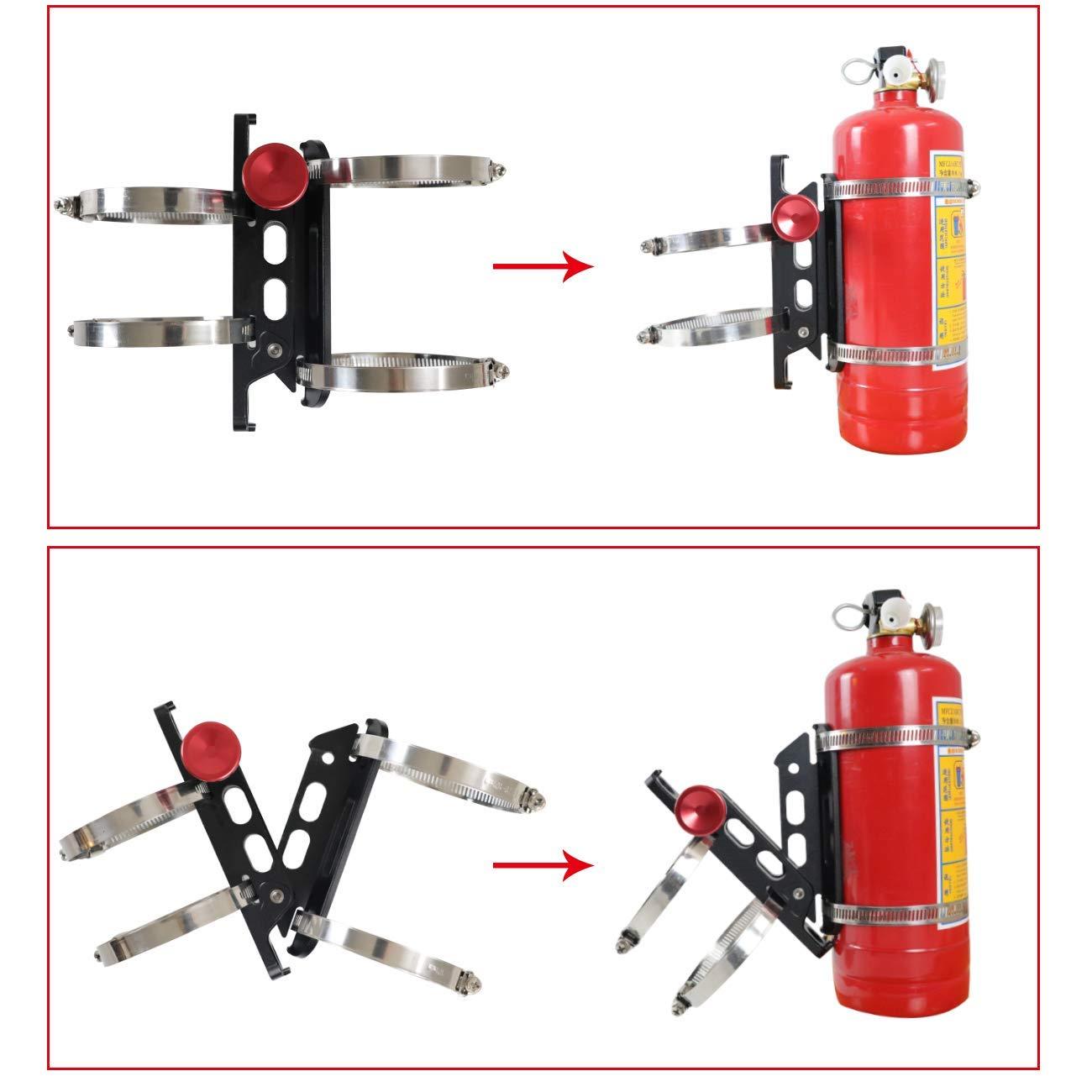 AUFER Quick Release Aluminum Adjustable Roll Bar Fire Extinguisher Mount Holder for Jeep Wrangler UTV Polaris RZR Ranger Camper Van with Pillar Support 1-10Lb Extinguishers ,8 Mounting Clamps