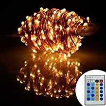 Led String Lights Leds Warm White Color Flexible Dimmable Copper Wire Lights 99ft/30m 300LEDs Waterproof Starry Twinkle String Lights (DC Powered with Remote)