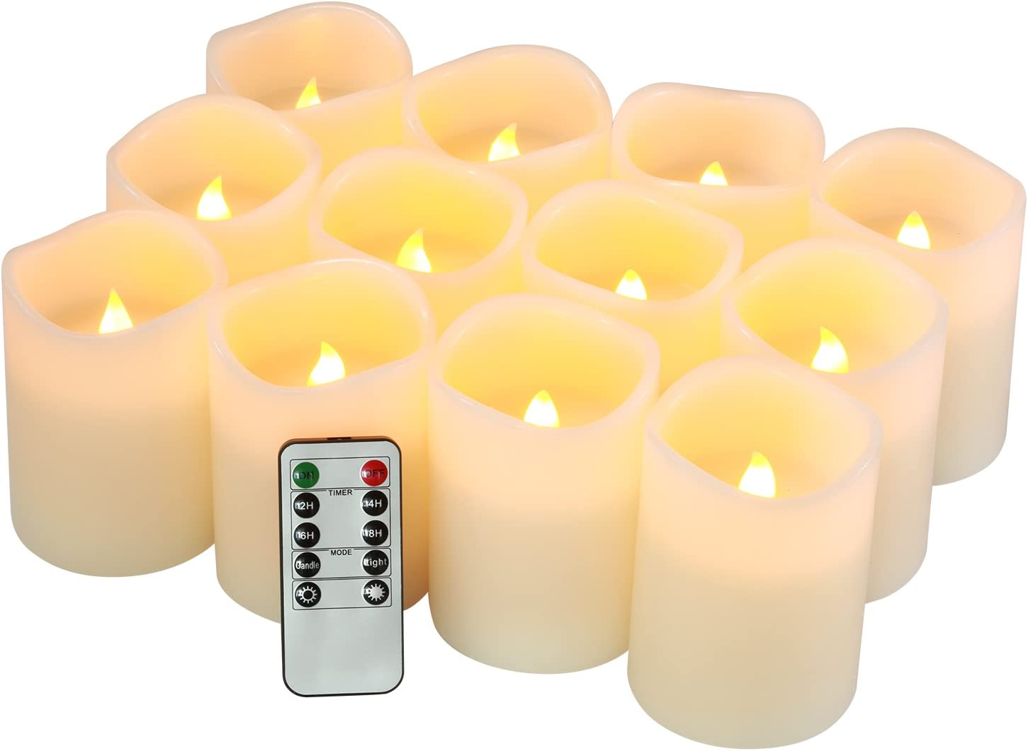 """Flameless Candles Battery Operated Candles Set of 12(D:3"""" X H:4"""") Pillar Real Wax Led Candles with 10-Key Remote and Cycling 24 Hours Timer"""