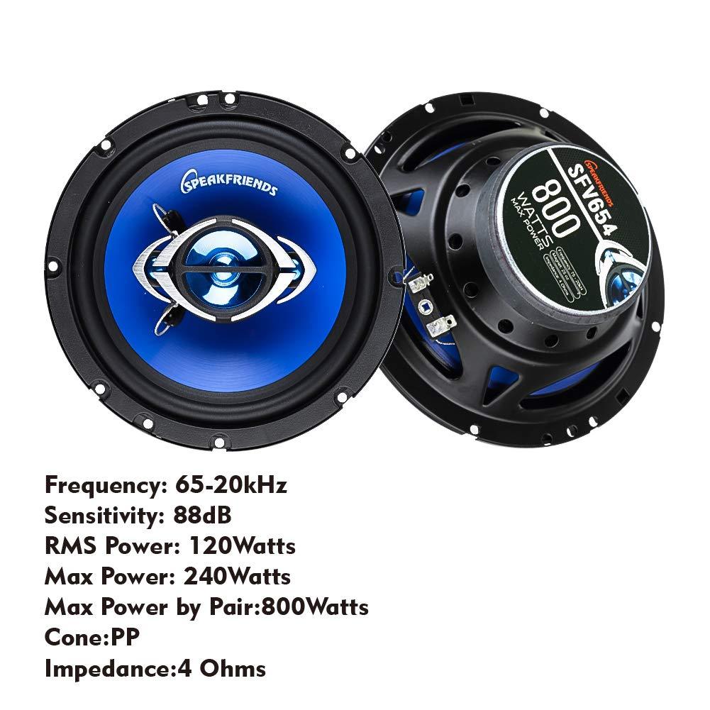 6.80578E+11 SPEAKFRIENDS SFV654 6.5-Inch 800 Watt Full-Range 4-Way Coaxial Audio Car Speakers Pair