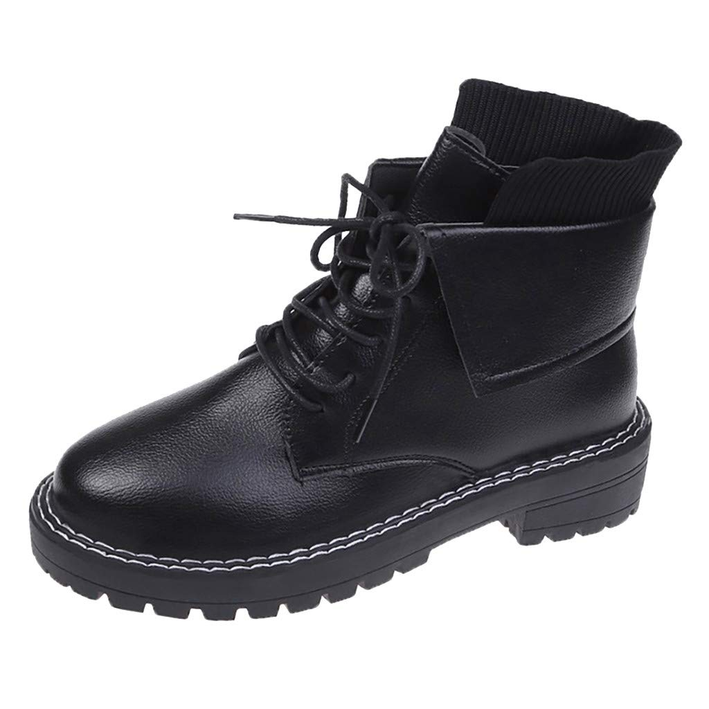 Benficial Boots for Women,Women's Fashion Leisure Lace-Up Chunky Square Heels Short Boots Shoes Black by Benficial