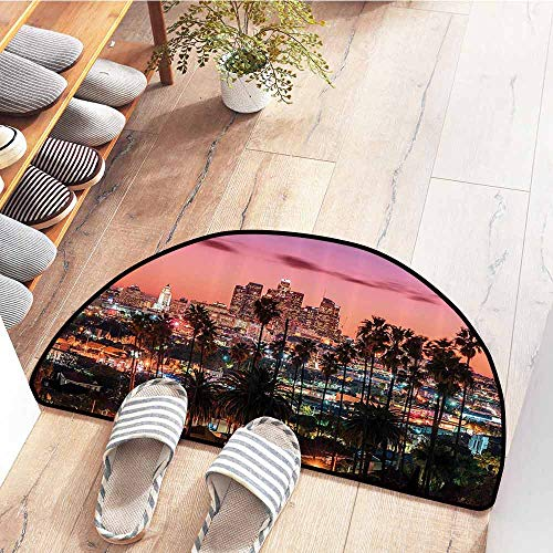 SEMZUXCVO Waterproof Door mat United States Vibrant Sunset Twilight Scenery Los Angeles Famous Downtown with Palm Trees Super Absorbent mud W31 x L20 Multicolor