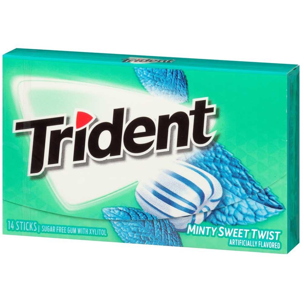 Trident Mint Sweet Twist Sugar Free Gum, 14 count per pack -- 144 per case.