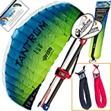 Prism Tantrum 250 Ocean Kite Yellow Blue Bundle (3 Items) Dual Line Control Bar Foil Parafoil + Peter Lynn Heavy Duty Padded Kite Control Strap Handles Pair + WindBone Kiteboarding Lifestyle Stickers