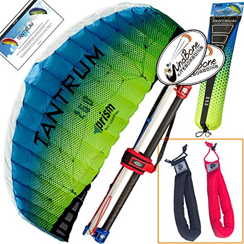 Prism Tantrum 250 Ocean Kite Yellow Blue Bundle (3 Items) Dual Line Control Bar Foil Parafoil + Peter Lynn Heavy Duty Padded Kite Control Strap Handles Pair + WindBone Kiteboarding Lifestyle Stickers by Unknown