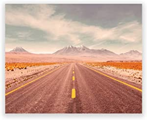 Humble Chic Wall Art Prints - Unframed HD Printed Travel Picture Poster Decorations for Home Decor Living Dining Bedroom Bathroom College Dorm Room - Endless Highway Desert, 8x10 Horizontal