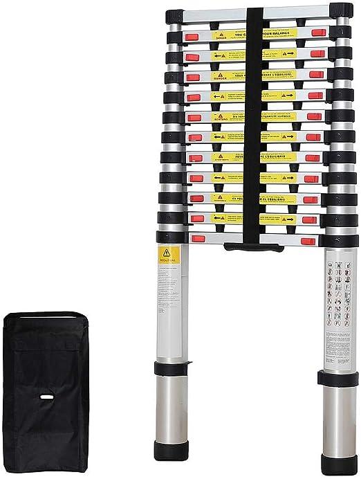Todeco - Escalera Telescópica, Escalera Plegable - Carga máxima: 150 kg - Estándar/Certificación: EN131-3,8 Metro(s), Brecha extra, Bolsa de transporte GRATIS, EN 131: Amazon.es: Bricolaje y herramientas