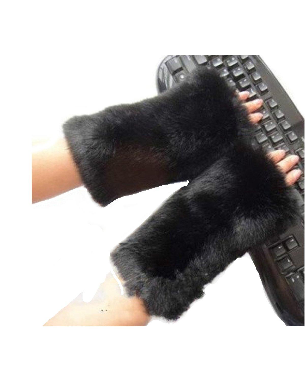 Women Winter Faux Fur Oversleeve Hand Muff Furry Gloves Arm Warmer Black