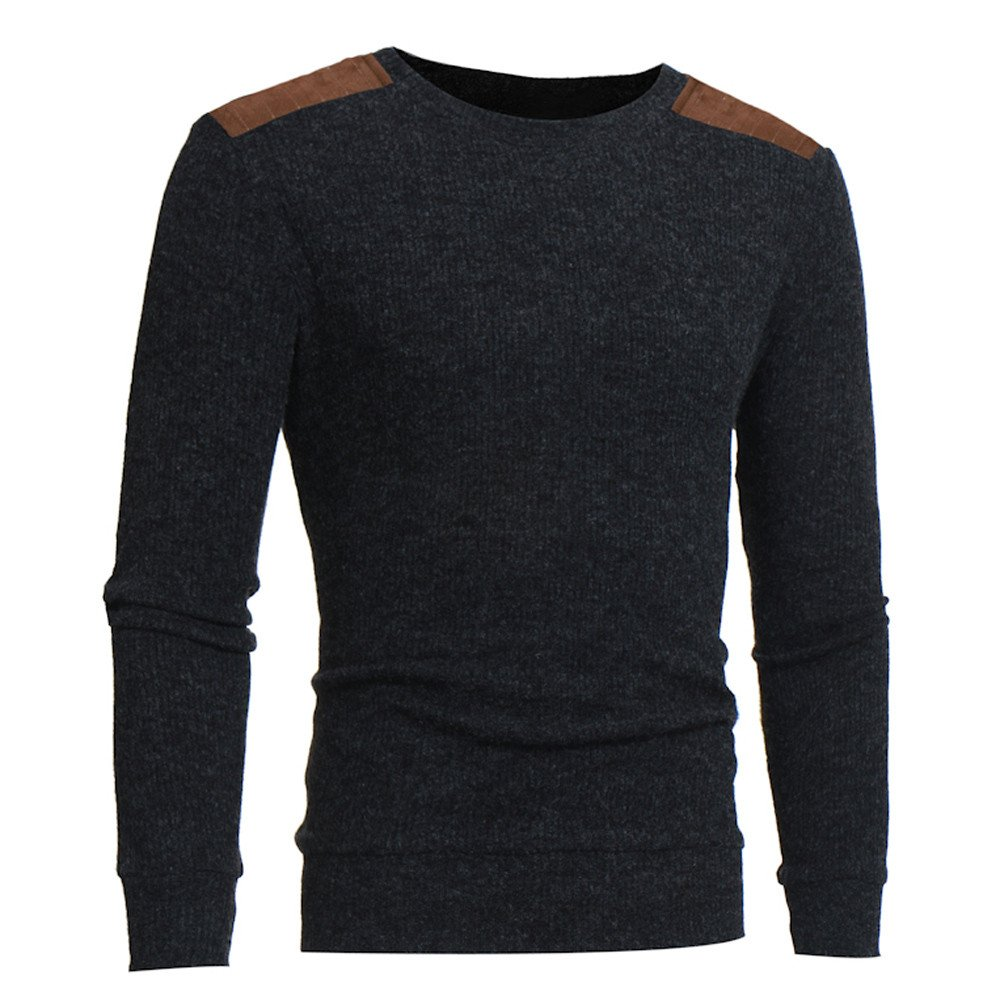 PASATO Mans Fashion Casual Round Neck Patchwork Mens Sweaters Tops Blouse Clearance Sale Coat Cardigan Sweatshirt