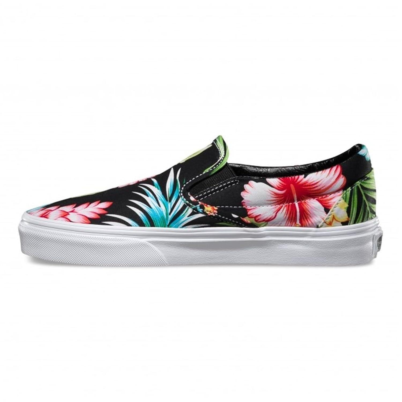 Furgonetas Clásico Slip-on Negro Floral Hawaiano cQZUP